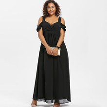 737b37c729b3 Wipalo Plus tamaño de la mujer de noche elegante fiesta frío hombro cintura  alta Maxi vestidos de novia cuello largo vestido de .