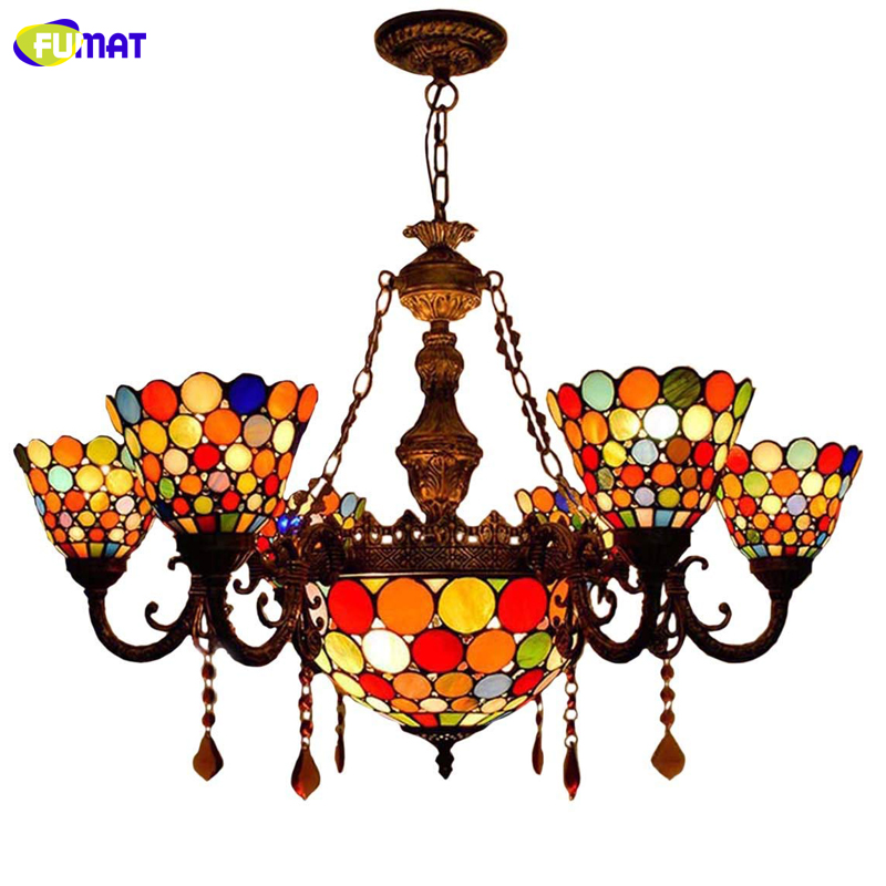 Us 526 99 15 Off Fumat Tiffany Crystal Stained Gl Pendant Lights For Dining Room Lighting Fixture Country Style Light In Chandeliers From