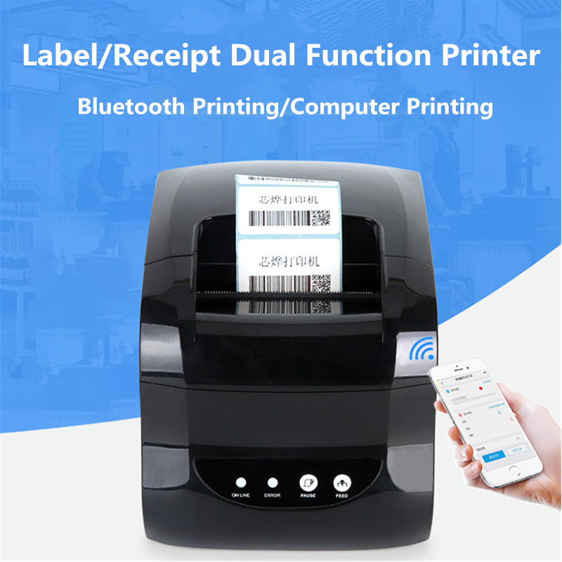 Bar code label printer clothing tag supermarket price QR sticker receipt dual function Thermal
