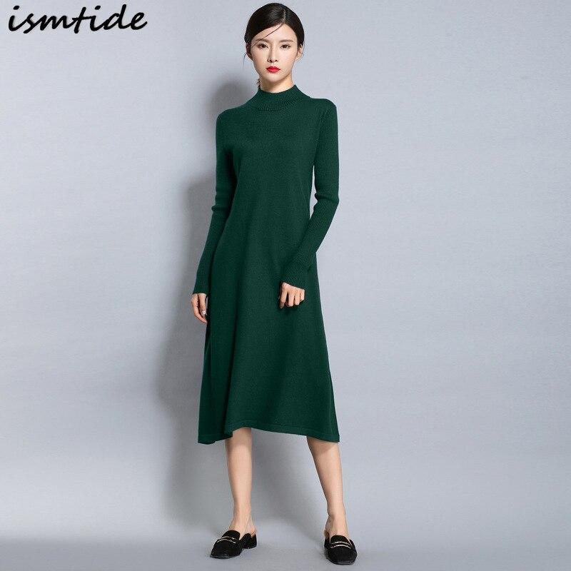 Long Knitted Dresses Women Cashmere Sweaters Warm Winter Long Sleeve Female Pullovers Turtleneck Sweater Dress Women Maxi Elegan