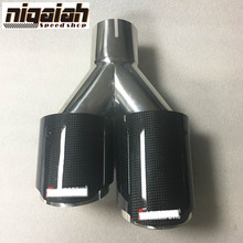 "LEFT Side New Universal Carbon Fiber Stainless Steel 3.5"" outlet and 2.5"" inlet Akrapovic Carbon Exhaust End Pipe"
