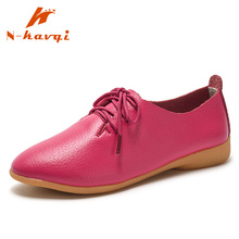 hot deal buy nkavqi women flats shoes quality leather lace up moccains women flats spring casual loafers sneakers ladies pointed toe flats