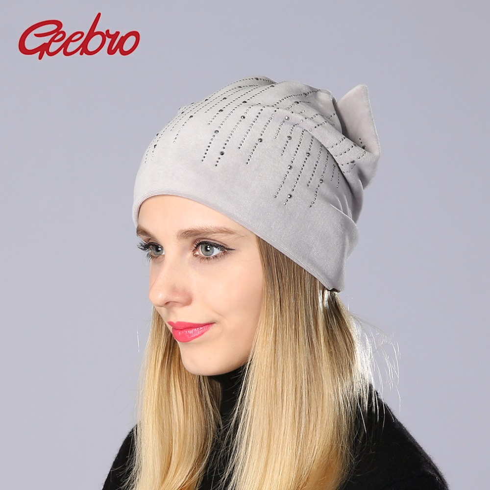 Geebro Women's   Beanie   Hat With Cat Ears Winter Hat   Beanies   Velvet Fabric Rhinestones Pattern   Beanie   For Girls   Skullies     Beanies
