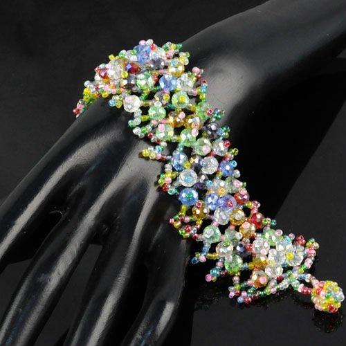 Multi Colored handmade friendship Bracelet With Charm Seed Beaded bracelets ,  BR-1202D