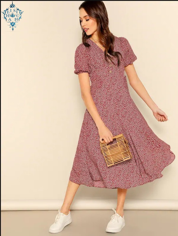 Ameision Button Front Allover Print V-Neck Dress Women 2019 Posh Summer Burgundy A Line Short Sleeve Fit and Flare Dresses