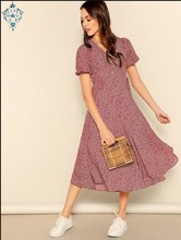 Ameision Button Front Allover Print V-Neck Dress Women 2019 Posh Summer Burgundy A Line Short Sleeve Fit and Flare Dresses недорого