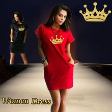 Women Queen Plus Size Dresses Short Sleeve Black Red Casual Fashion Loose Summer Dress  2019