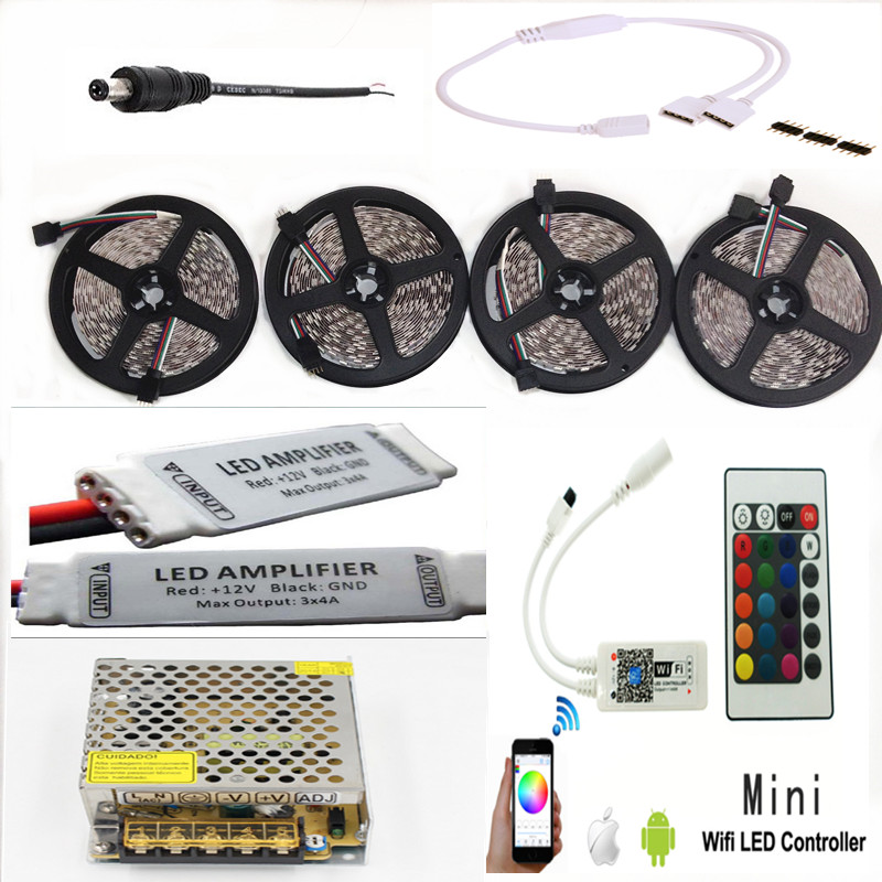 Amplifier Kit 12v Power Adapter Music Timmer Mode Remote Controller Methodical Rgbw Rgb Wifi Led Strip Waterproof 5050 Ip65 Tiras 20m