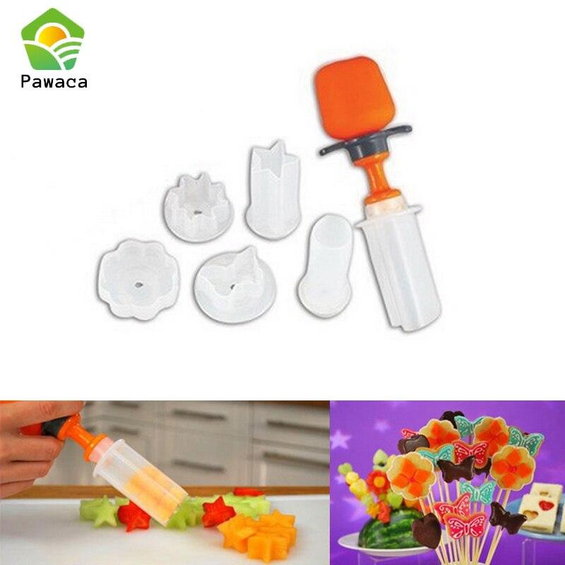 6pcs Fruit Vegetable Carving Garnishes Vegetables Slicer Cutting Cake Cookie Dinner Decoration Fruit Cutter Shape Kitchen Tools