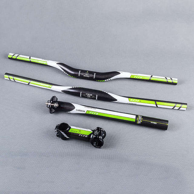 NEW Super Light FCFB Carbon Fiber MTB Bicycle Parts Set Carbon Flat or Riser Handlebar + Stem + seatpost