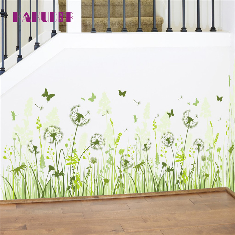 New 1pc Green Dandelion Fly Wall Sticker Removable Vinyl Decal Home Room Art Decor wall stickers for kids rooms For Bedroom