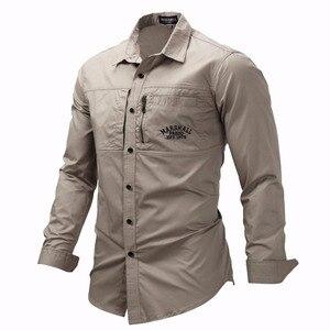 Image 2 - 프레드 마샬 2019 패션 밀리터리 셔츠 긴 소매 멀티 포켓 캐주얼 셔츠 브랜드 의류 육군 녹색 Camisa Masculina 117
