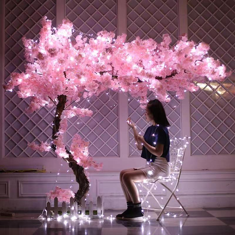 Flowers Long-Peach Peach Artificial Artificial Flower Pink Wedding Decoration Peach Cherry Blossom Branch Decorating
