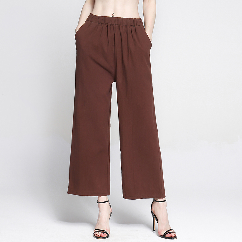 Bigsweety Summer New Style Casual Loose High Waist   Pants   Women Solid Elastic Waist Long Trousers   Wide  -  leg     Pants