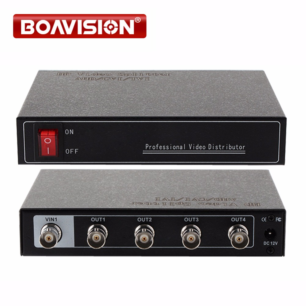 1-4 Points Professional Video Distributor/Splitter,4CH AHD/CVI/TVI BNC Output,Support DC 12V In,Up To 300-600m Range