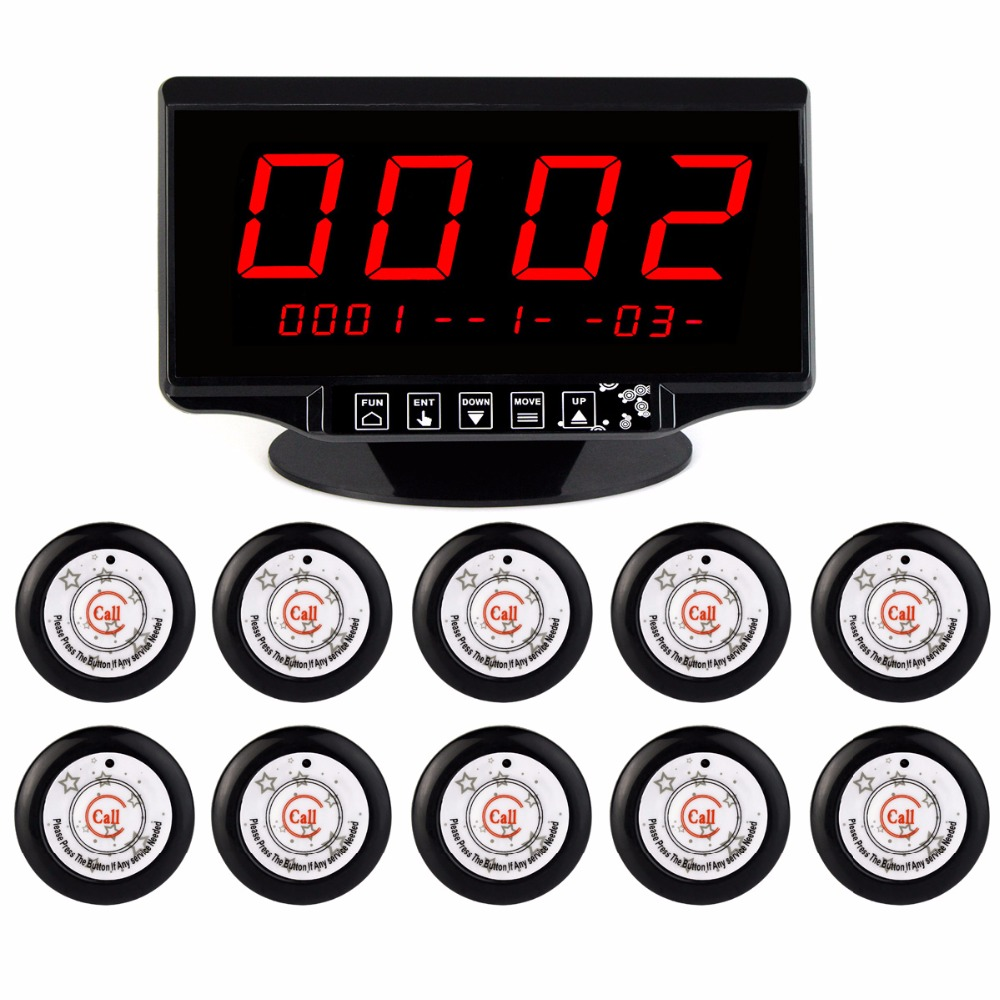 Wireless Restaurant Pager Calling System 1pcs Voice Broadcast Receiver Host+10pcs Call Button 433MHz Restaurant Equipment F3291A 5pcs 433mhz wireless restaurant cafe pager waiter calling system button call pager four key restaurant equipment f3285c