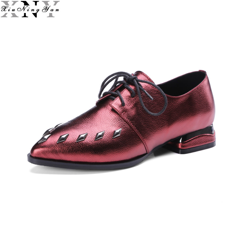 XIUNINGYAN Genuine Leather Oxford Shoes Woman Fashion Spring Autumn Pointed Toe Lace up Derby Brogue Shoes Casual Girl Flat 2/15 spring autumn women flats oxford derby brogue pu patent leather square toe lace up vintage sexy casual dress office ladies shoes