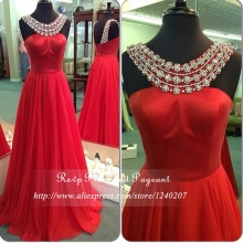 Long Red Prom Dresses 2017 Beaded Scoop Neck Wide Straps Sleeveless Floor Length Chiffon Prom Dress