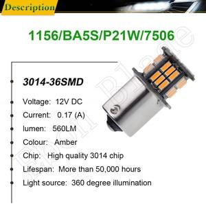 Image 2 - 2Pcs שעות היום אור S25 1156 BA15S P21W 3014 36 SMD אוטומטי LED ענבר כתום צהוב איתות הנורה מנורת רכב סטיילינג 12V DC
