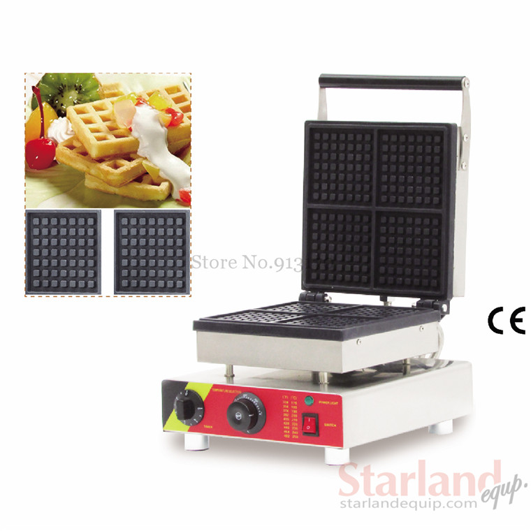 Waffle maker Commercial square stainless steel electric waffle machine with four pcs 110v 220V 2016 upscale 10oz stainless steel 110v 220v electric commercial popcorn machine with temperature control