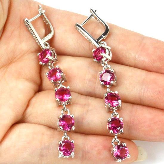 Pretty Long Pink Tourmaline, White CZ SheCrown Created Woman's  Silver Earrings 62x6mm