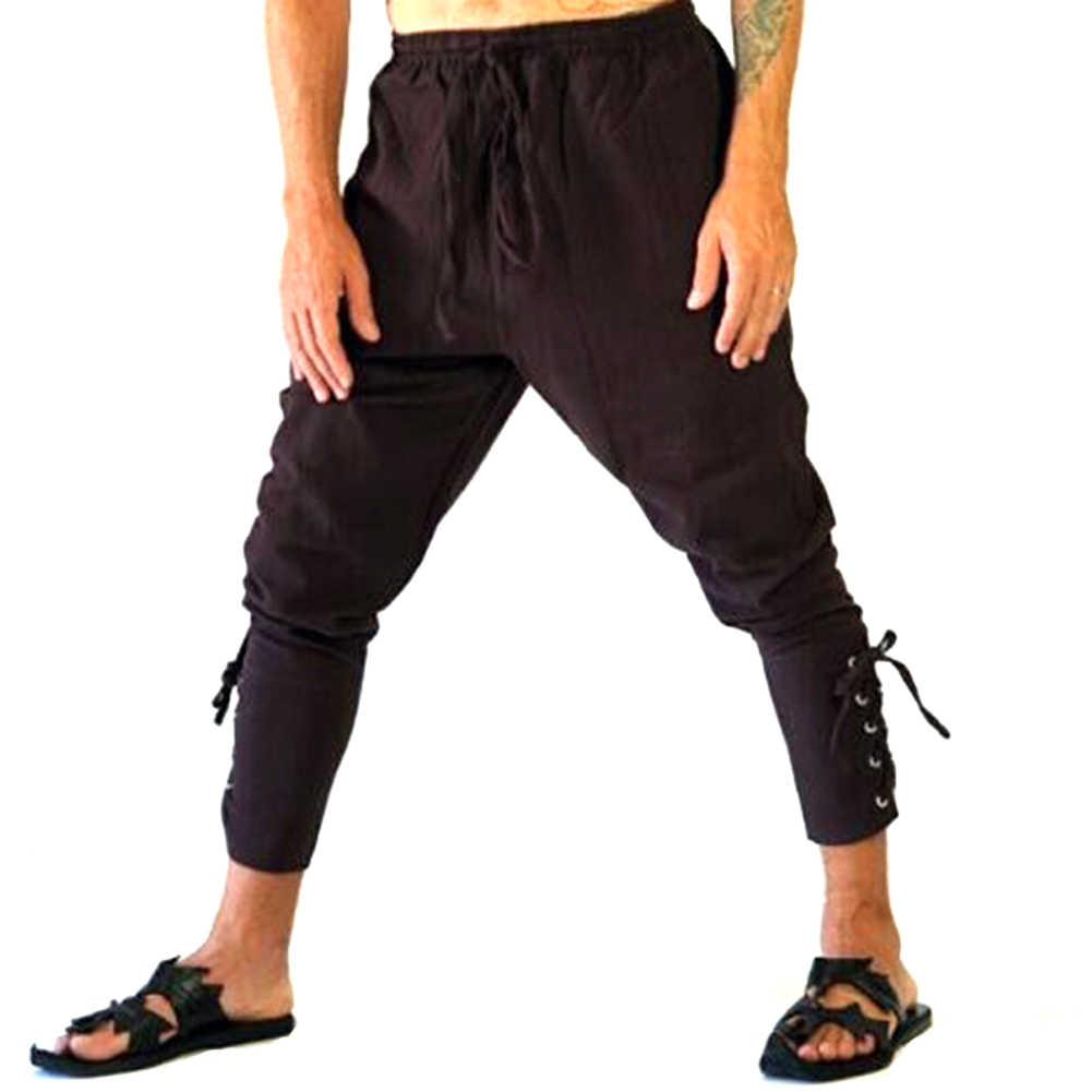 YJSFG HOUSE Mens Hemp Harem Pants Hippie Plain Bandage Martial Baggy  Festival Bandage Pencil Pants Drawstring 1a969e198e92