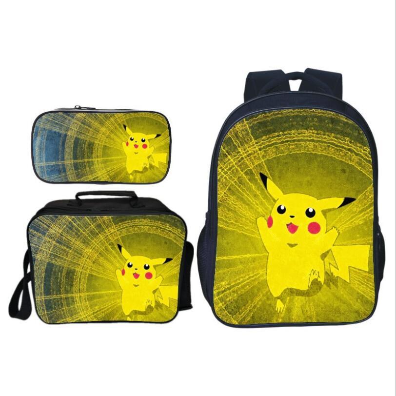 3 pièces/ensemble impression de dessin animé mignon Pikachu enfants bébé sacs d'école Pokemon enfants sacs à dos pour filles costume Bookbag garçons cartable