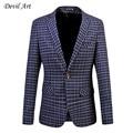 Men's Dress Blazer Fashion Business Suit Jacket Fine Grid Blazer Slim Veste Homme Mariage Free Shipping Plus Size:5XL 6XL 513