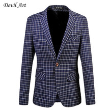 Men's Dress Blazer Fashion Business Suit Jacket Fine Grid Blazer Slim Veste Homme Mariage Free Shipping Plus Size:5XL 6XL 513