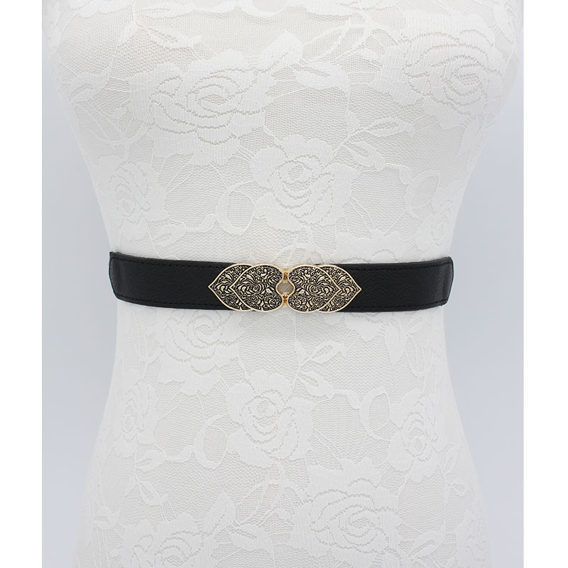 Fashion Vintage Buckle Belts For Women Wedding Stretch Carved Design Waistbands Elastic Thin Cummerbunds For Dress Black Party