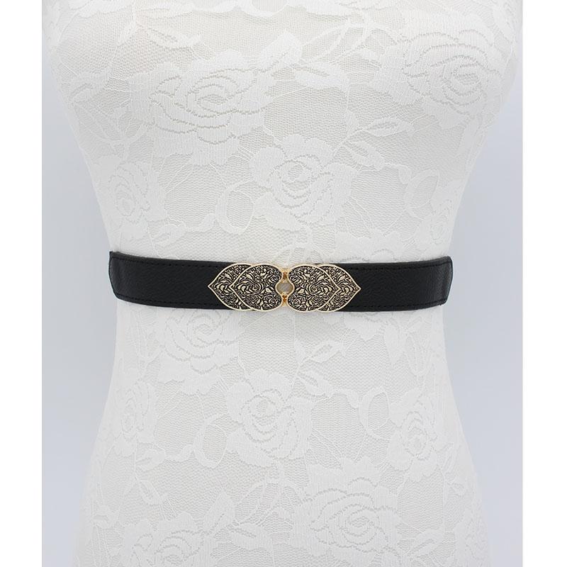 Fashion Vintage Buckle Belts For Women Wedding Stretch Carved Design Waistbands Elastic Thin Cummerbunds For Dress Black Party