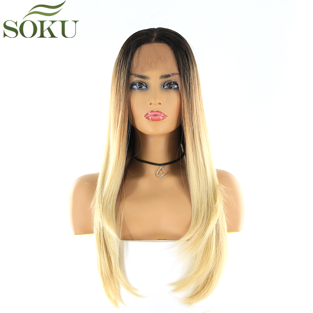 Ombre Blonde Synthetic Lace Front Wigs For Women SOKU 24 Inch Straight Wigs 150% Density Heat Resistant Fiber Wig