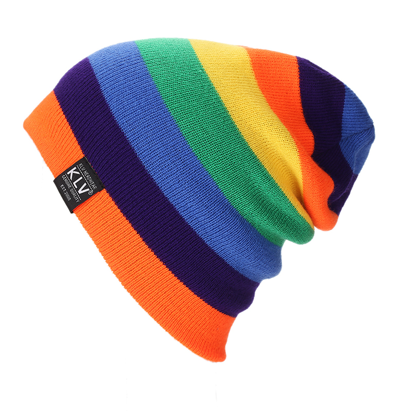 Women Knitted Rainbow Color   Beanie   Hat Winter bonnet Hats For Men Caps Warm Winter Hat Female Cotton Striped   Skullies     Beanies