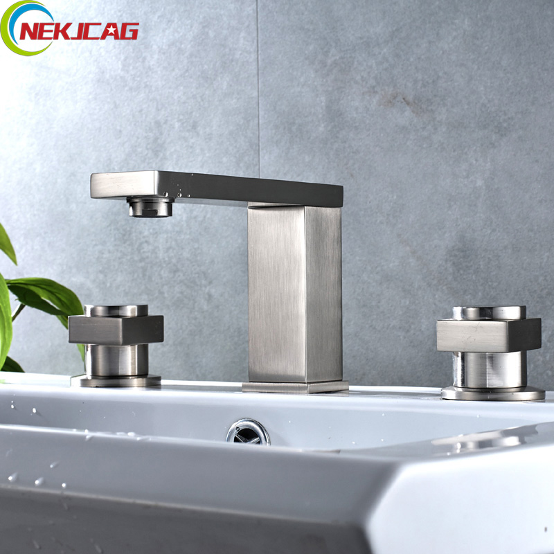 Wholesale and Retail Bathtub Faucet Three-piece Three-hole Separation Split Bath Tub Hot and Cold Water Mixer lanos torneira all copper split three piece three hole basin faucet flat water double tube factory direct the hot and cold taps