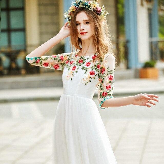 Vestidos largos bordados flores