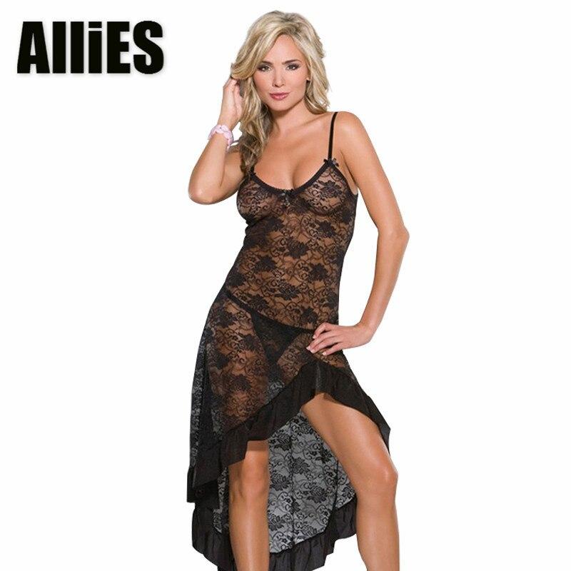 100% QualitäT Frauen Sexy Spitze Schlaf Kleid Plus Größe Rose Floral Transparent Dessous Babydoll Intimates V-ausschnitt Lange Rock Mit G-string! Heller Glanz