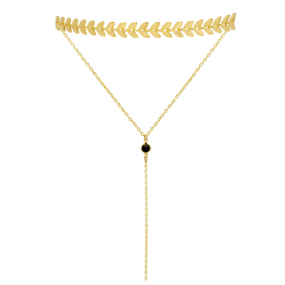Trendy Layering Sliver&Gold leaf Choker Necklace Copper Birth Nacklace Clavicle Tattoo Y Necklace Women Girls Best Gift