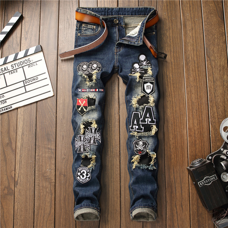 Mcikkny 2019 Mens Fashion Ripped Jeans Straight Patchwork Denim Trousers Hip Hop Skull Embroidered Jeans Pants For Male (6)