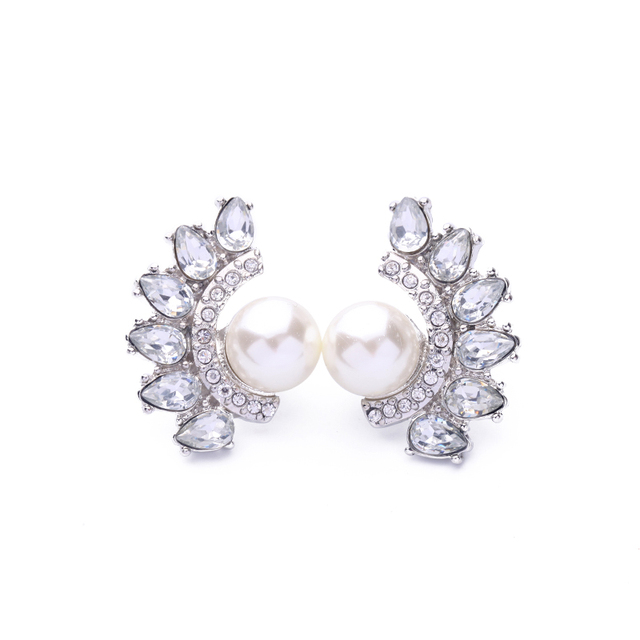 Shiny Waterdrop Crystal Earrings Simulated Pearl Women Temperament Bridal Stud Indian Jewelry