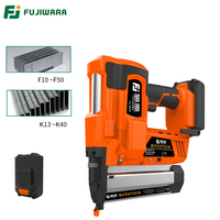 FUJIWARA Electric Wireless Lithium Battery Rechargeable Nail Gun 15 50mm Straight Nail 10 40mm U shape Nail Woodworking Tool