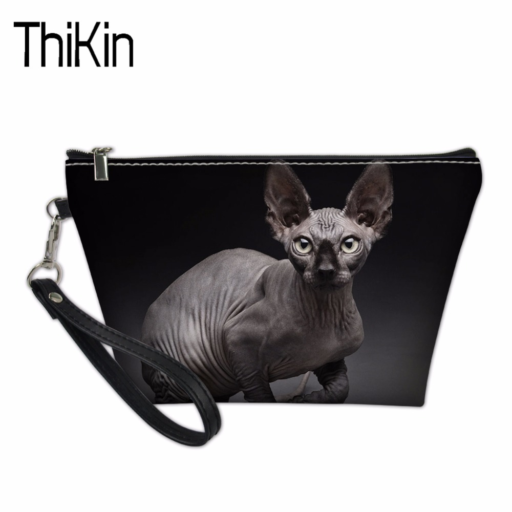THIKIN Cosmetic Bags & Cases for Women Travel Makeup Organize Sphynx Canadian Hairless Cats Print Functional Bag Make Up Pouch