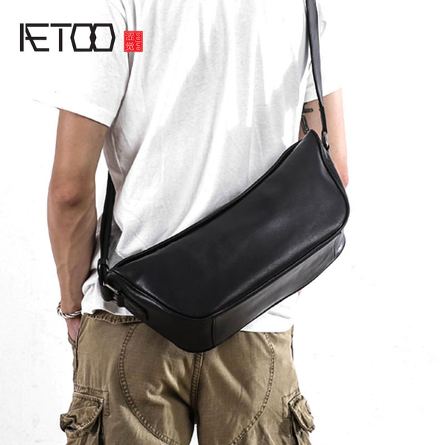 AETOO Chest bag man simple leather Japanese trend single shoulder bag  leisure crossbody bag men s sports dead flying bag 76acc7de25a3b