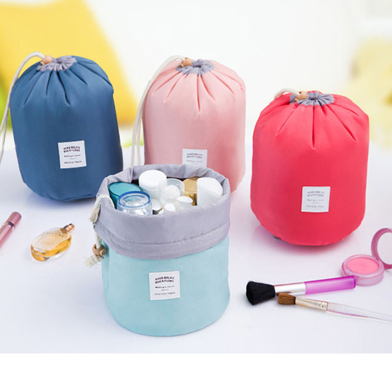 New Arrival Barrel Shaped Travel Cosmetic Bag Nylon High Capacity Drawstring Elegant Drum Wash Bags Makeup Organizer Storage Bag цена