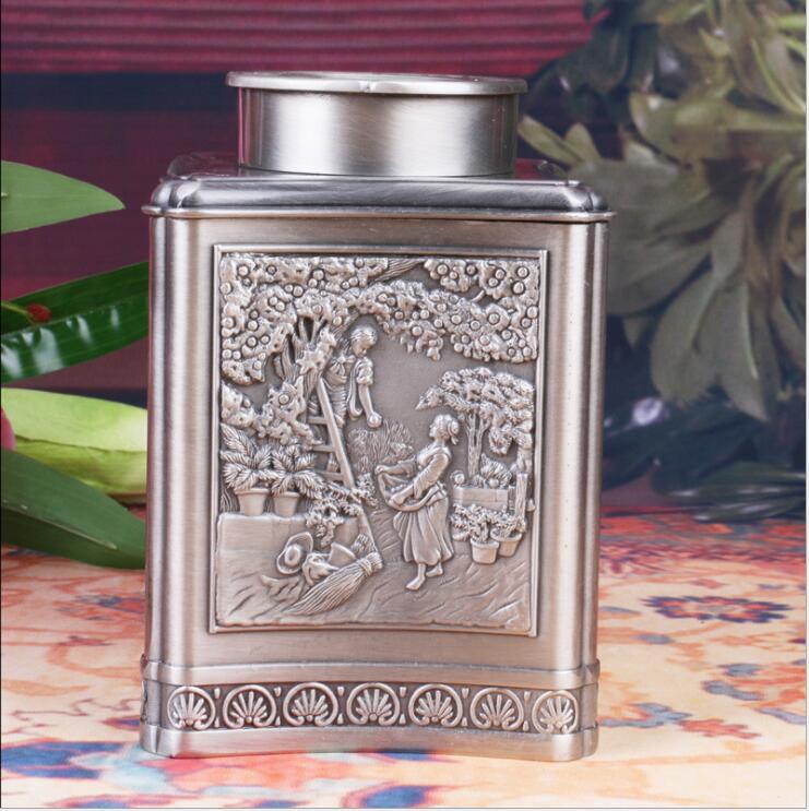 Boîtes à thé en alliage d'étain européen boîte de rangement de bonbons à café en alliage de haute qualité avec couvercle boîte de conserve pour thé CYG05