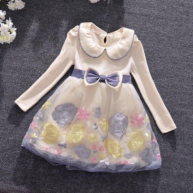 Girl Dress Girls Autumn Dress Peter Pan Collar Kids Dresses for Girls  Clothes Girls Flowers Embroidery 21c1bfa22