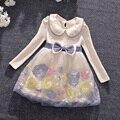 Vestido de la muchacha de Las Muchachas Del Otoño collar de Peter Pan Niños Vestidos para Niñas Ropa de Las Muchachas Flores Bordado Vestido de Ropa de Los Cabritos 3-9 T
