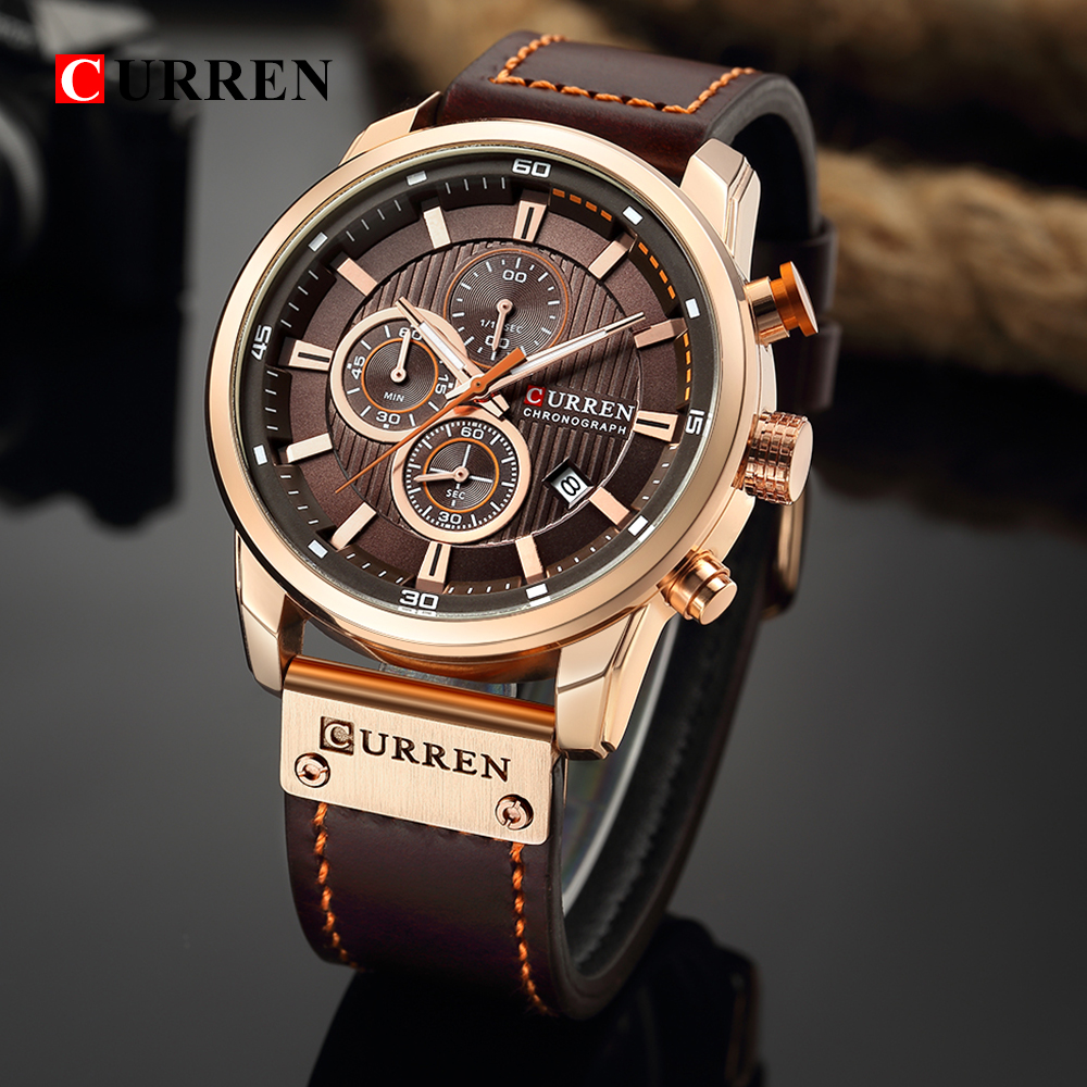 Topdudes.com - CURREN New Luxury Brand High Quality Leather StrapChronograph Sports Watches