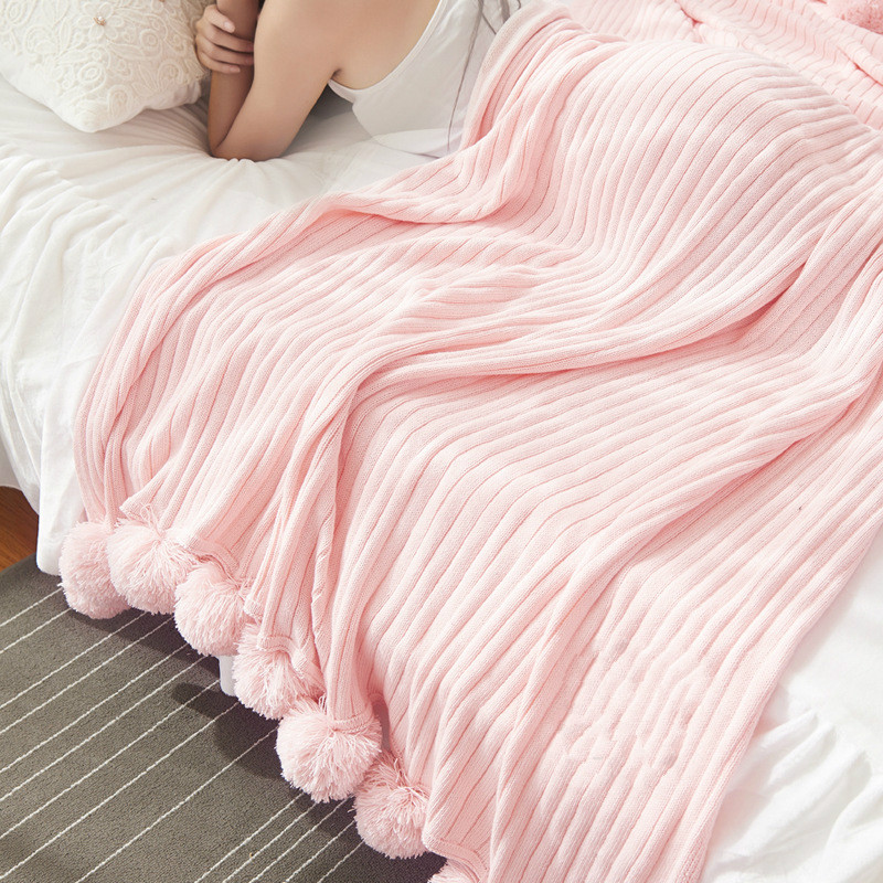 Cotton Knit Blanket Sofa Blankets for Beds Air Conditioning  Vs Secret Pink Chunky Weighted