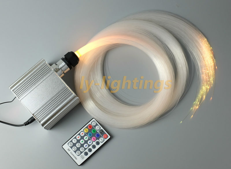 DIY twinkle stars optic fiber lights optical fiber light led light box with 0.75mmx2.5mx200pcs fibres ceiling light wall lamp decoration optical fiber light kit led light engine cables tailpieces fibre optic color change twinkle effect diy stars
