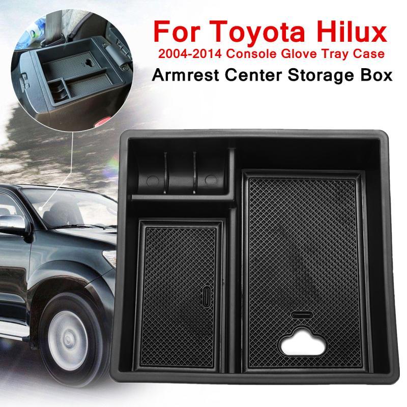 Accoudoir Central Boîte De Rangement En Plastique pour Toyota Hilux 2004-2014 Console Gant Plateau Cas Intégré 2 Non-slip tapis Organisée Forme